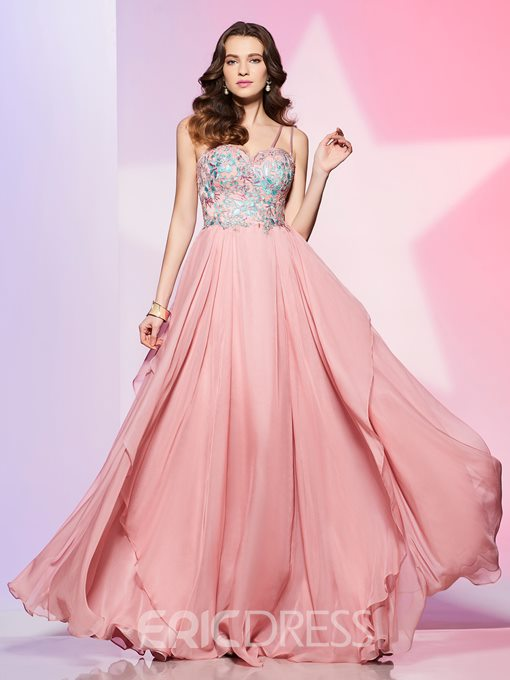 Ericdress Graceful Spaghetti Straps Chiffon Floor Length A Line Long Prom Dress