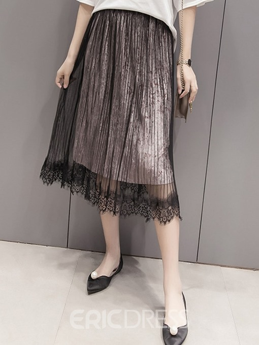 Ericdress Pleated Mesh Lace Hollow See-Through Usual Skirt