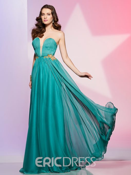 Ericdress Sexy Sweetheart Pleats Applique Beaded A Line Long Prom Dress