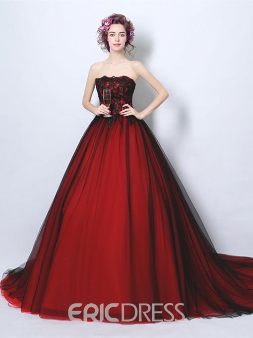 Ericdress Strapless Ball Gown Appliques Quinceanera Dress With Court Train