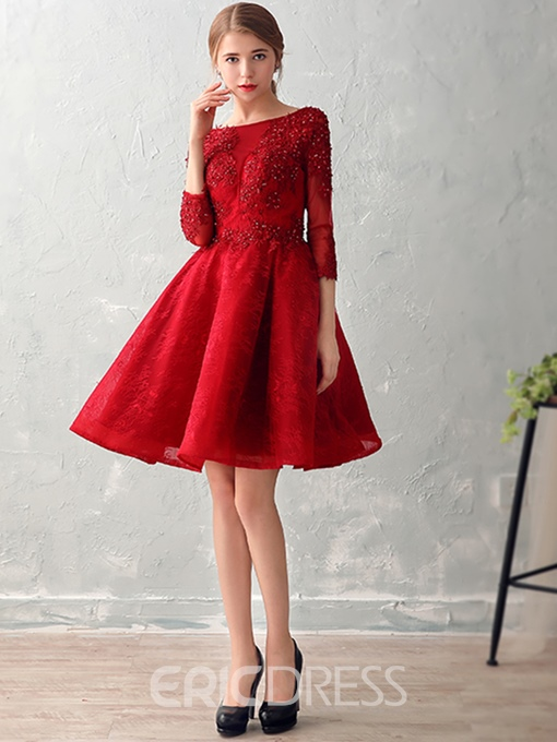 Ericdress Sweet 3/4 Length Sleeves Appliques Beading Lace Pearls Prom Dress