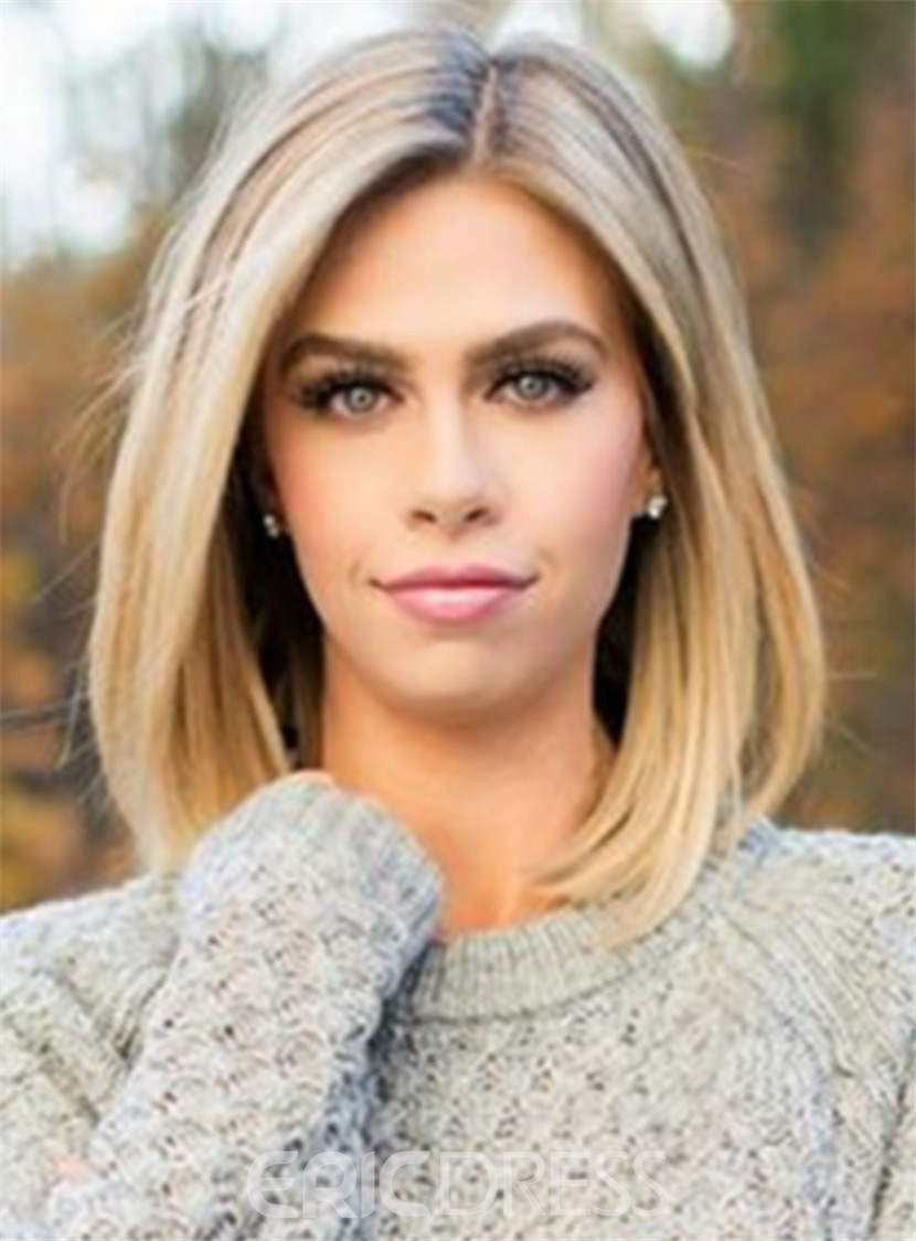 Ericdress Mid-length Straight Blonde Full Lace Human Hair Wig 12 Inches