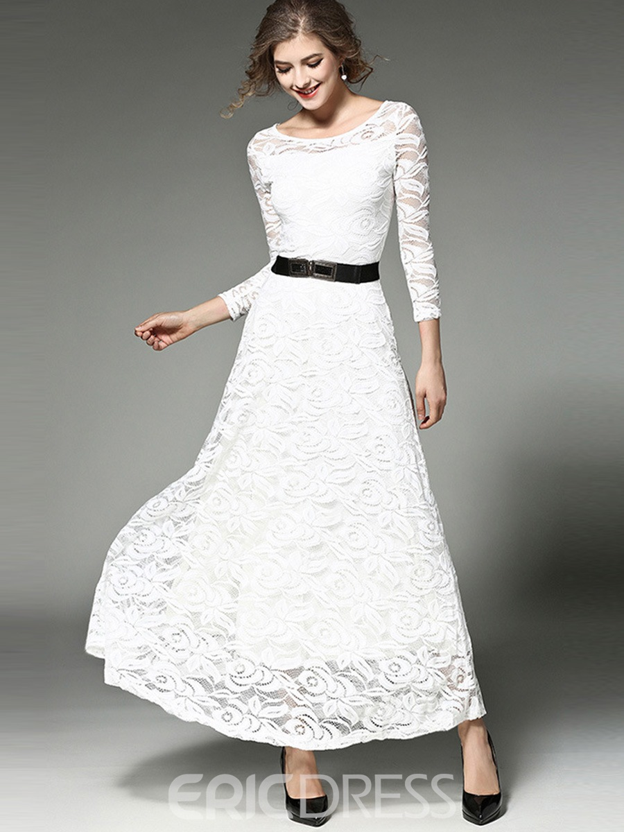 Ericdress See-Through Ankle-Length Long Sleeve Regular Dress(Without Waistband)