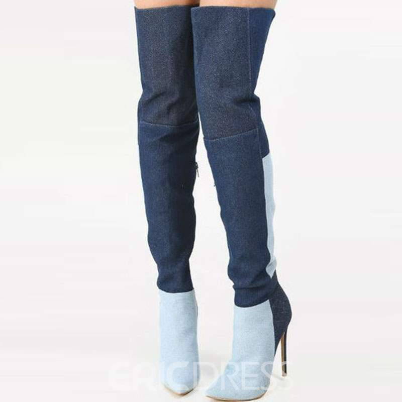 910a8c41ce37 Ericdress Stylish Contrast Color Pointed Toe Over the Knee Denim Boots (12721227)