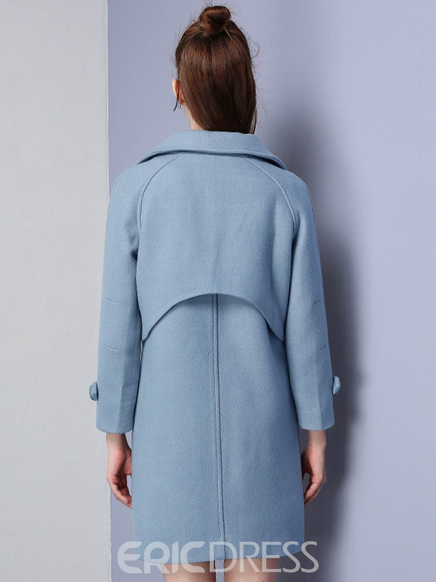 Ericdress Solid Color Double-Breasted Polo Coat