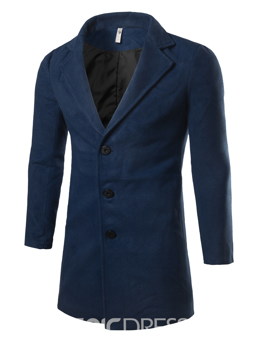 Ericdress Solid Color Mid-Length Casual Men's Coat