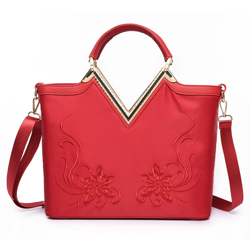 Ericdress Chinese Floral Embroidery Nylon Handbag