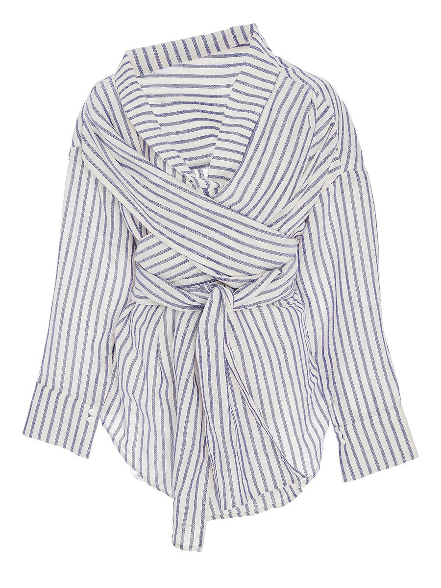 Ericdress Stripe Tie Front Fashion Blouse