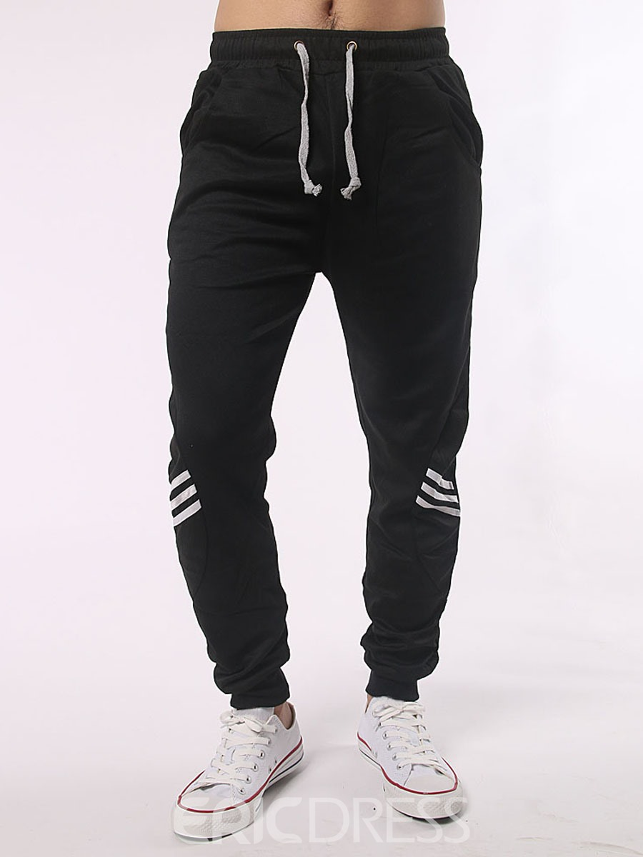 Ericdress Stripe Lace-Up Casual Men's Pants