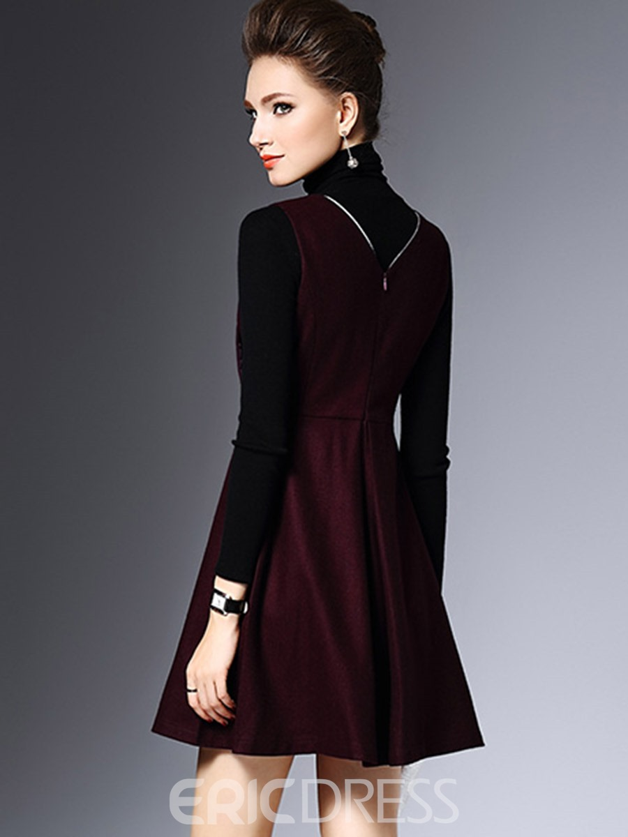 Ericdress Turtleneck Fabric Patchwork Patchwork Pleated Casual Dress