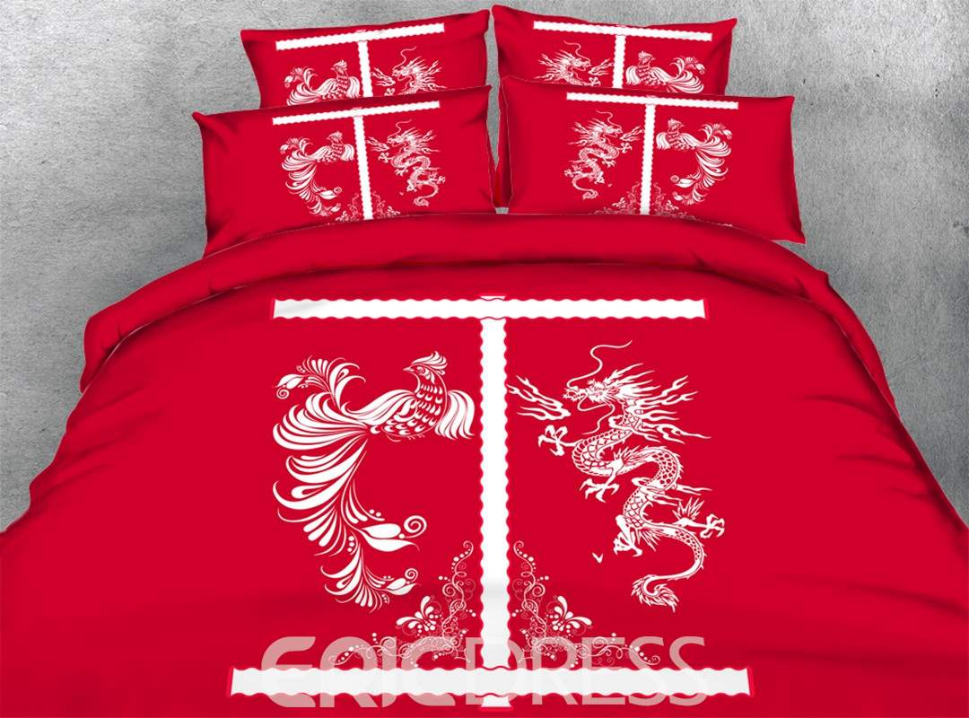 Chinese Dragon and Phoenix Printed Cotton 3D 4-Piece Red Bedding Sets/Duvet Covers