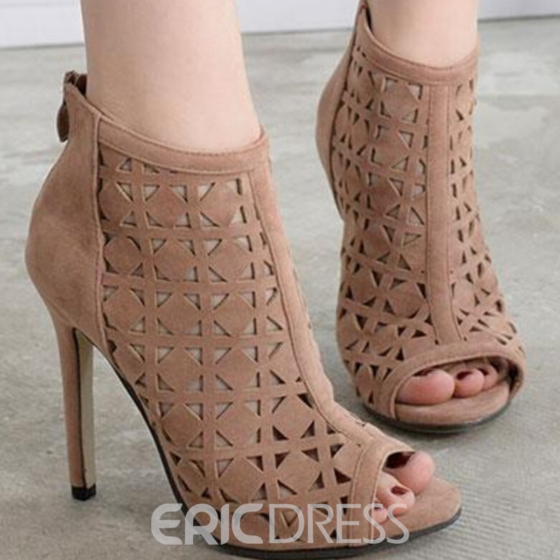 Ericdress Suede Cut Out Peep Toe Stiletto Sandals