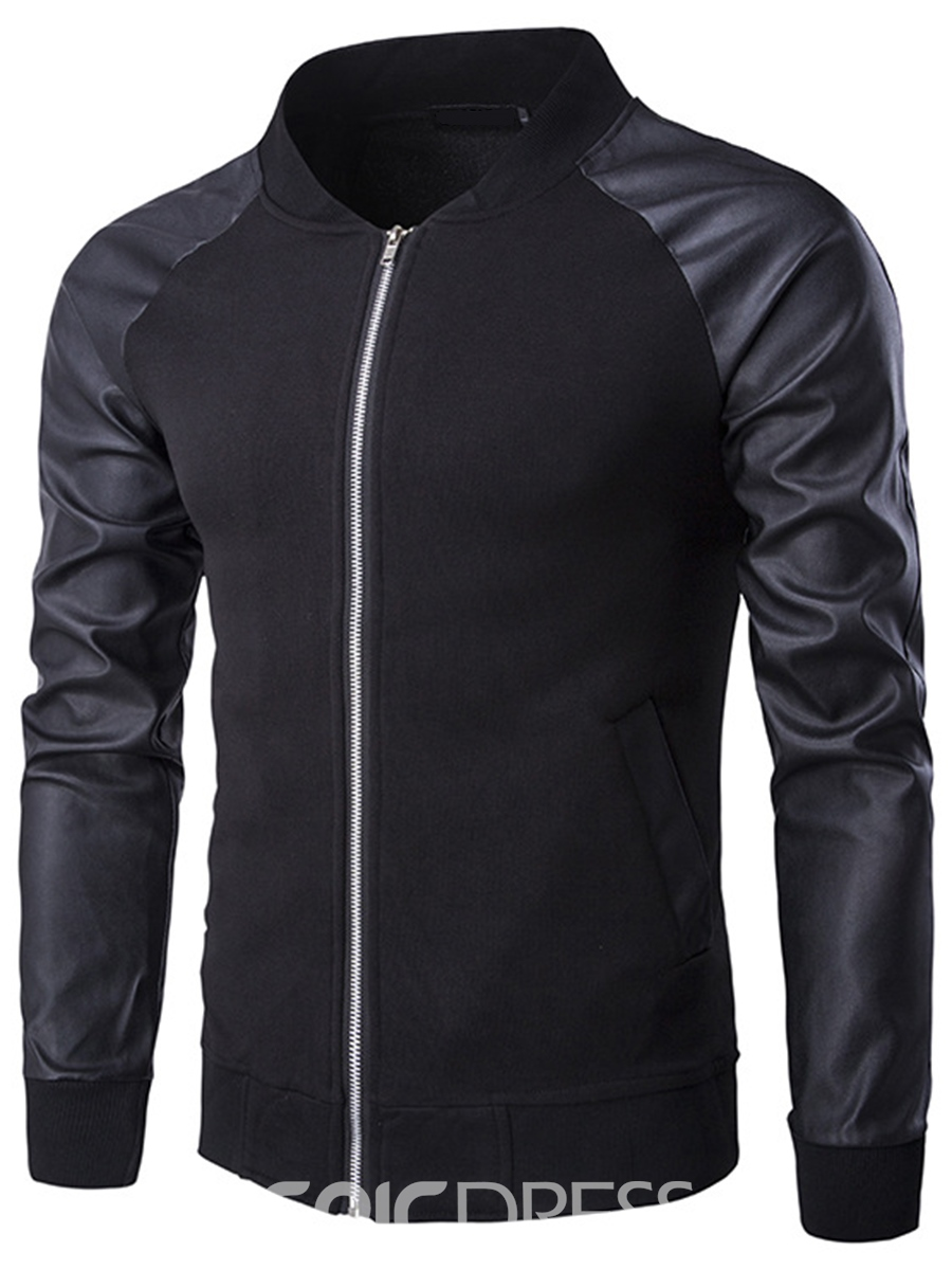 Ericdress PU Sleeve Zip Pocket Casual Men's Hoodie
