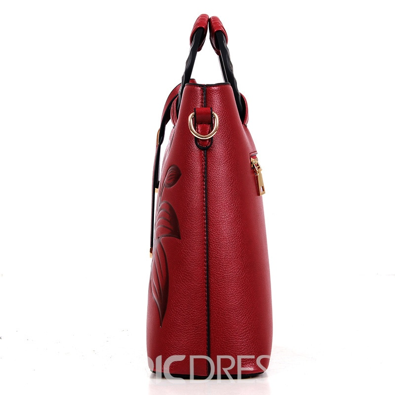 Ericdress Vintage Exotic Lily Embossed Handbag