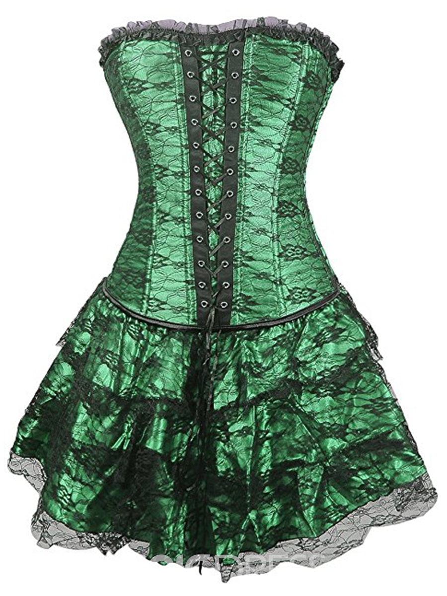 Ericdress Color Block Cross Lace-Up Falbala Corset(Plus Size Available)