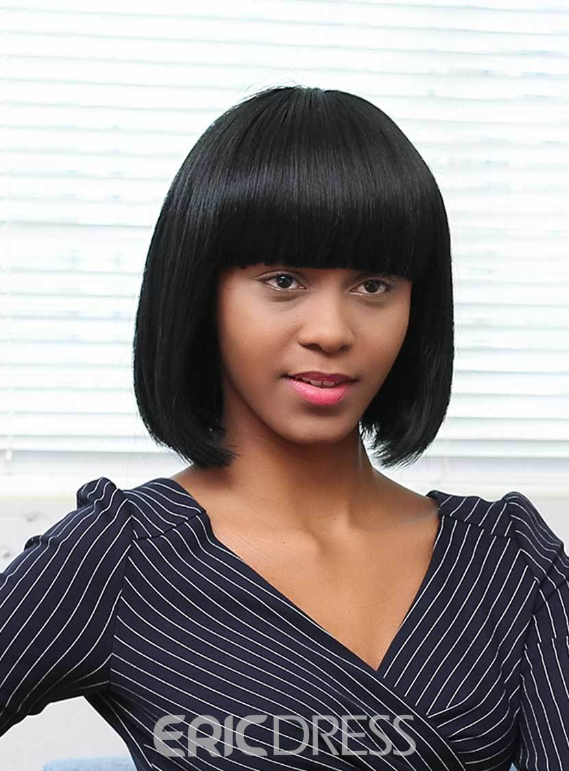 Ericdress Bob Short Straight Human Hair With Bangs Capless Wigs 12 Inches