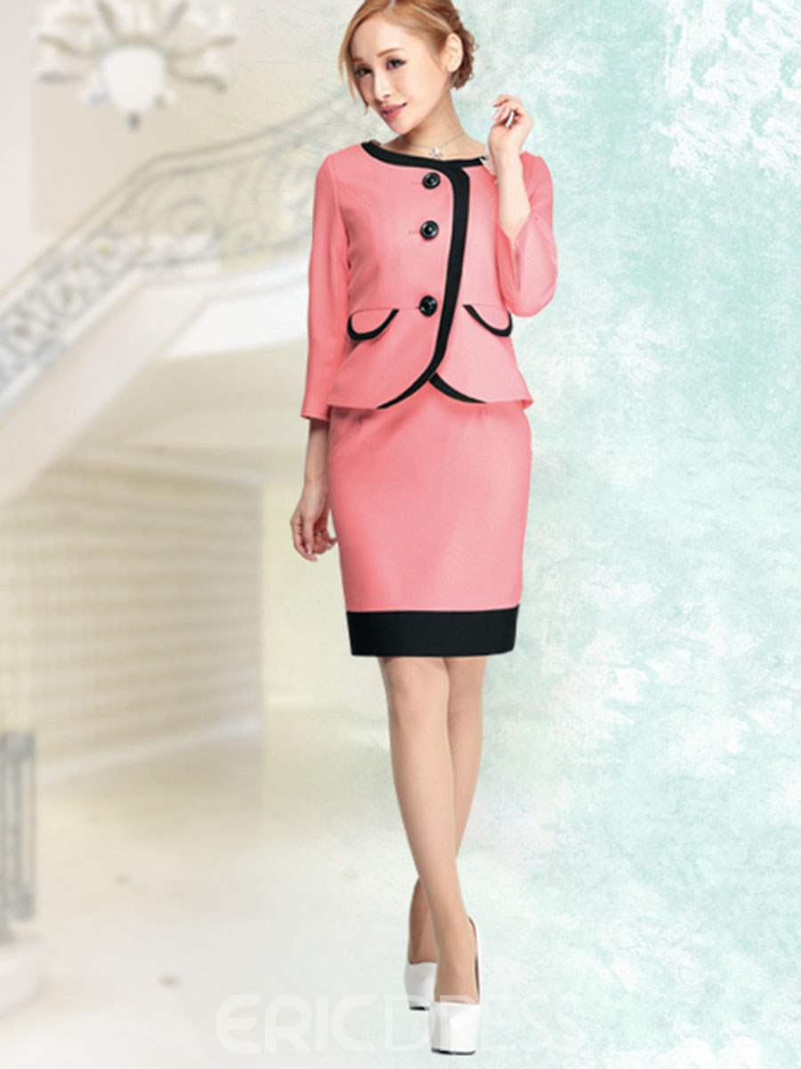 Ericdress Single-Breasted Coat And Bodycon Skirt Suit