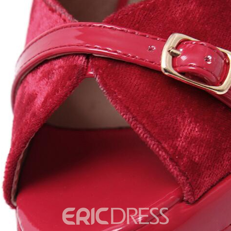 Ericdress Patchwork Buckles Platform Peep Toe Wedge Sandals