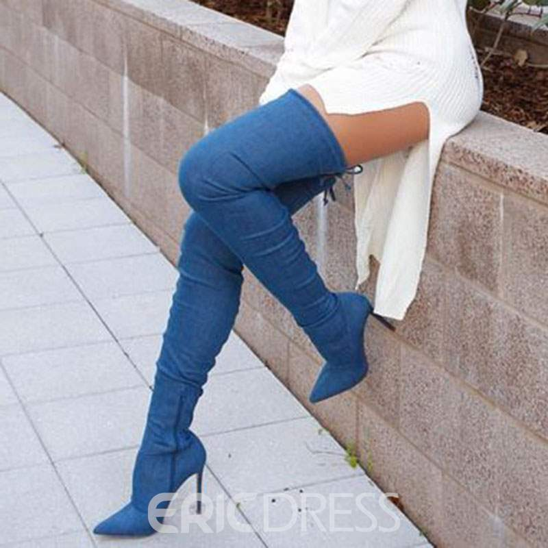 Ericdres Denim Pointed Toe Stiletto Heel Over the Knee Boots