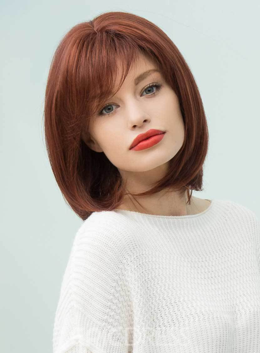 Ericdress Elegant Medium Straight Human Hair Blend Capless Bob Wigs 12 Inches