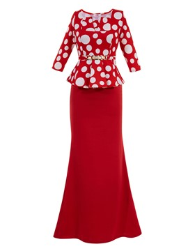 Ericdress Square Neck Polka Dots Half Sleeves Maxi Dress