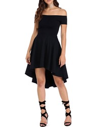 Ericdress Slash Neck Pleated Patchwork Short Sleeve Asymmetrical Little Black Dress thumbnail