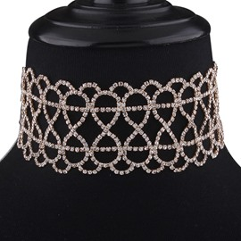 Ericdress Eight-Shaped Hollow-Out Diamante Choker Necklace
