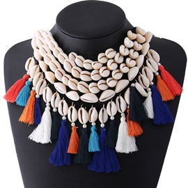 Ericdress Bohemian Multilayer Shell Tassels Necklace