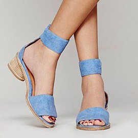 Ericdress Chic Blue Low Heel Sandals