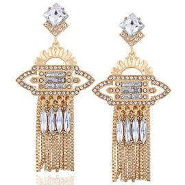 Ericdress Charming Rhinestone Inlaid Golden Earrings