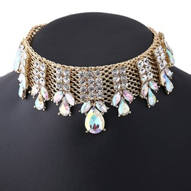 Ericdress European Rhinestone Inlaid Alloy Choker Necklace