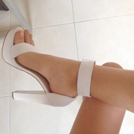 sandales à talons chunky plate-forme blanche ericdress