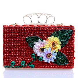 Ericdress European Style Floral Rhinestone Evening Clutch