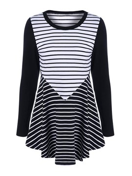 Ericdress Stripe Pleated Color Block T-Shirt