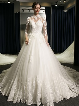 Ericdress High Quality Appliques Ball Gown Long Sleeves Wedding Dress