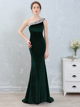 Ericdress Beaded One Shoulder Velvet Mermaid Evening Dress With SweepTrain