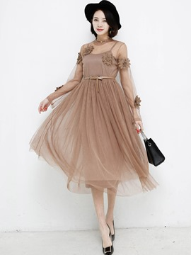 Ericdress Ladylike Pleated Mesh See-Through Dress Suit