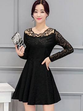 Ericdress Lace Patchwork Hollow Pleated Little Black Dress