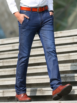 Ericdress Mid-Waist Denim Straight Casual Men's Pants