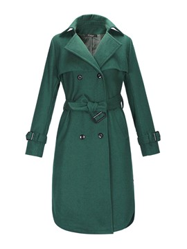 Ericdress Solid Color Straight Belt Coat