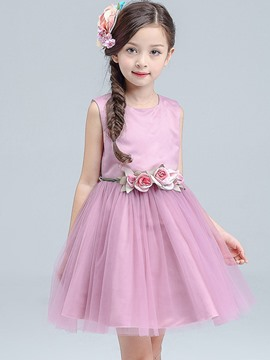 Ericdress Plain Mesh Sleeveless with Belt Girls Dress