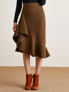 Ericdress Asymmetric Ruffles Pleated High-Waist Skirt