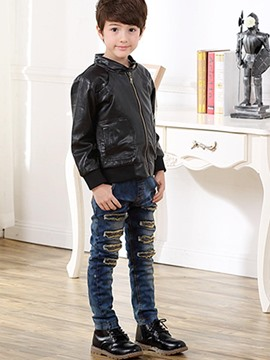 Ericdress Chic Worn Denim Thick Boys Pant