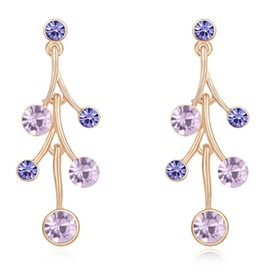 Ericdress Purple Crystal Design Gloden Plated Earrings