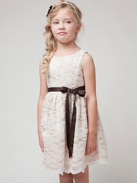 Ericdress Lace Bow Sleeveless Girls Dress