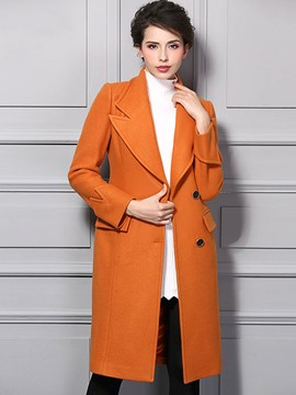 Ericdress Straight Solid Color Single-Breasted Coat