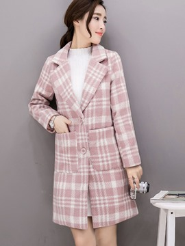 Ericdress Color Block Straight Plaid Lady Coat