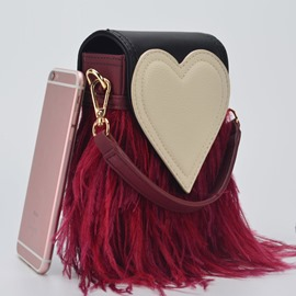 Ericdress Personality Geometric Heart Fringe Shoulder Bag
