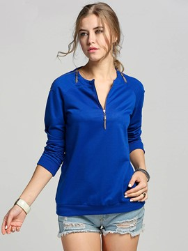 Ericdress Solid Color V-Neck Zippper T-Shirt