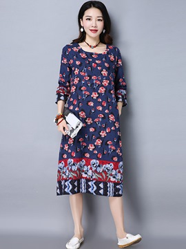 Ericdress Round Collar Floral Print Loose Maxi Dress